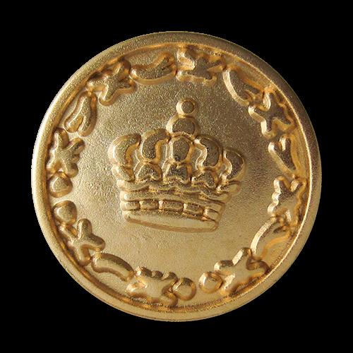 www.Knopfparadies.de - 3058go - Goldfarbene Metallknöpfe mit Krone / B-WARE