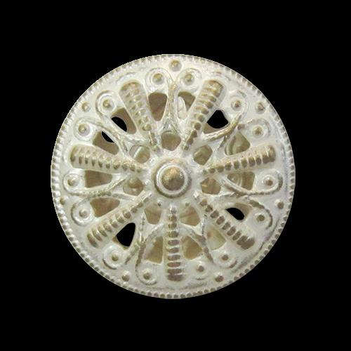 www.Knopfparadies.de - 5298ms - Elegante Metallblechknöpfe mit Durchbruch in Messing & Silber