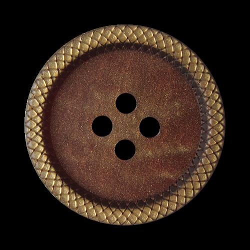 www.knopfparadies.de - 5846gz - Edle Vierloch Kunststoffknöpfe in Gold und Braun mit Glitzer Effekt