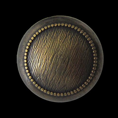 Edle altmessingfarbene Metall Ösen Knöpfe mit gepunktetem Zierkreis und Schraffierung