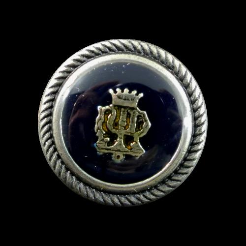 Edle Blazerknöpfe aus Metall mit Wappen und Krone in silber-schwarz