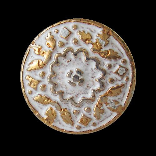 www.Knopfparadies.de - 0495gw - Weiß goldene Metallknöpfe mit üppiger Verzierung