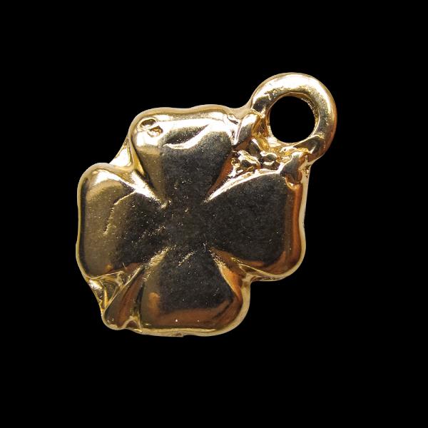 Goldfb. glänzender Metall Anhänger in Kleeblatt Form