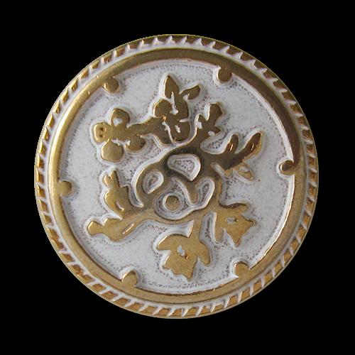 www.Knopfparadies.de - 0576gw - Weiß goldene Metallknöpfe mit Blumen Muster