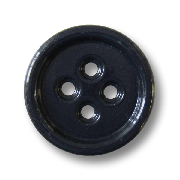Moderner großer blau lackierter Vierloch Metall Knopf