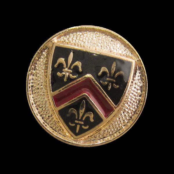 www.knopfparadies.de - 4344gs - Edle Blazerknöpfe mit Lilienmotiv und Wappen
